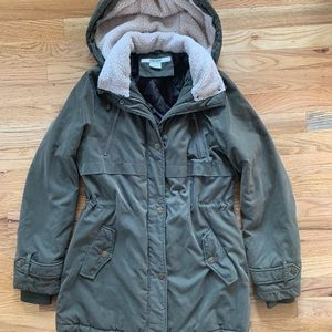 DKNY Army Green Jacket with Sherling Hood
